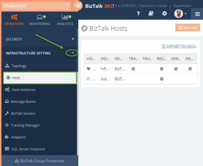 biztalk host settings in biztalk360