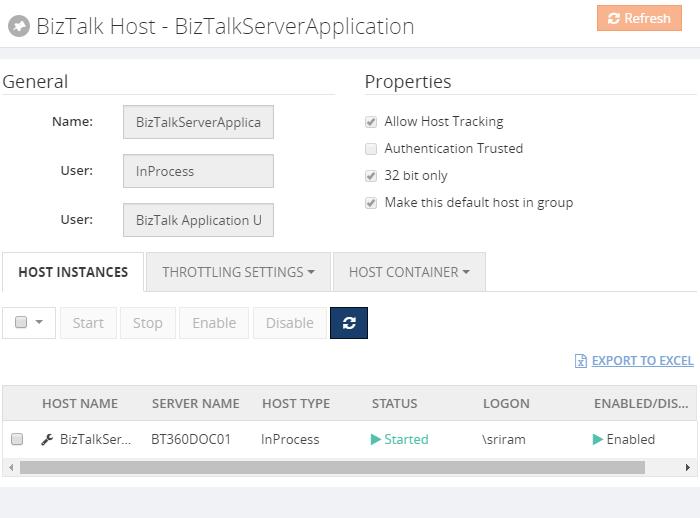 biztalk host instance properties