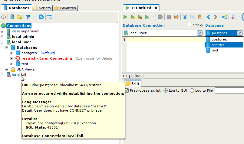 Postgresql Db Connections in 95 : DbVis Software