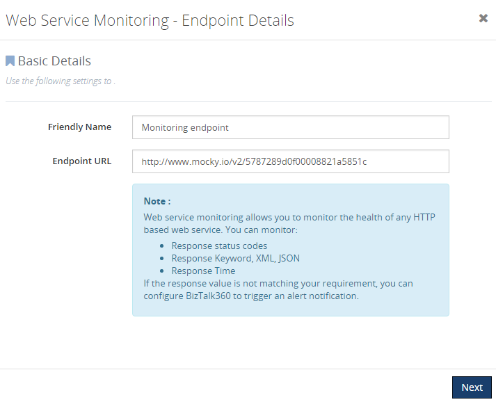 monitoring web endpoints in biztalk360