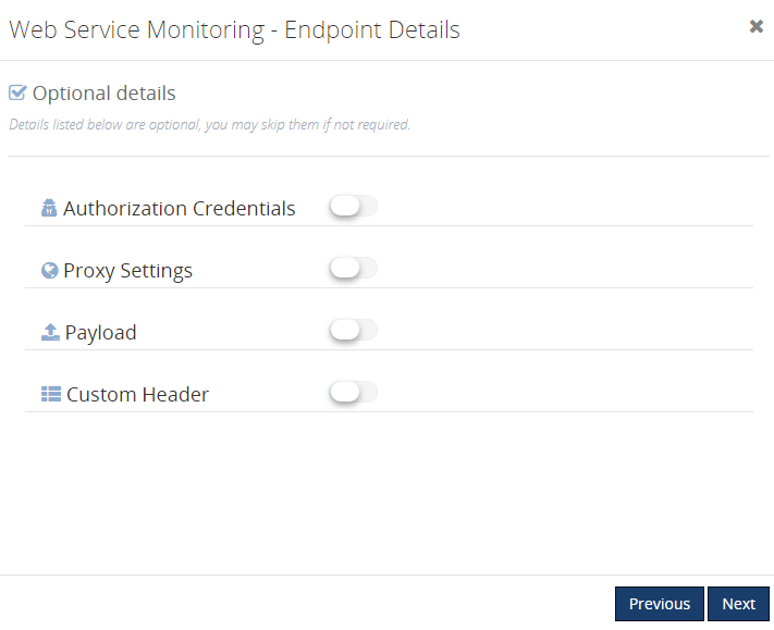 web endpoint monitoring configuration details