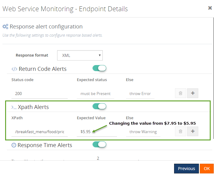 set threshold value for web endpoint monitoring