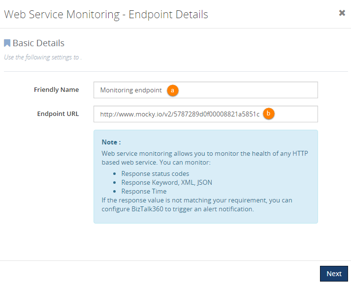 configuring web endpoints monitoring in biztalk360