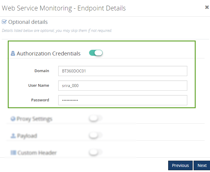 authorization details in web endpoints monitoring