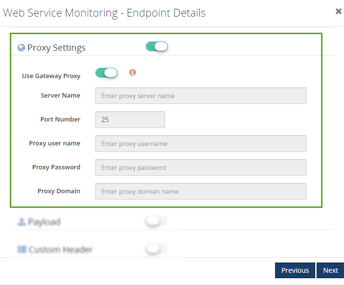 web endpoints monitoring proxy settings