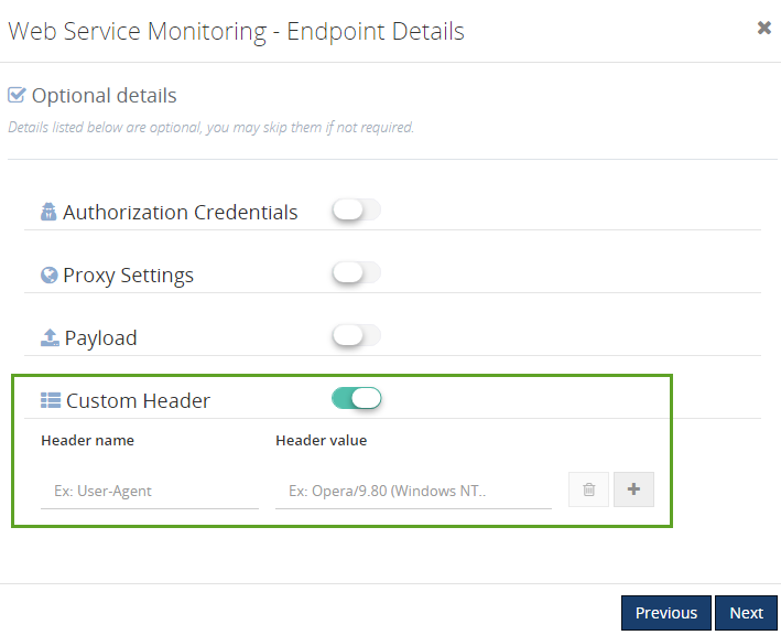 creating custom header in web endpoints monitoring