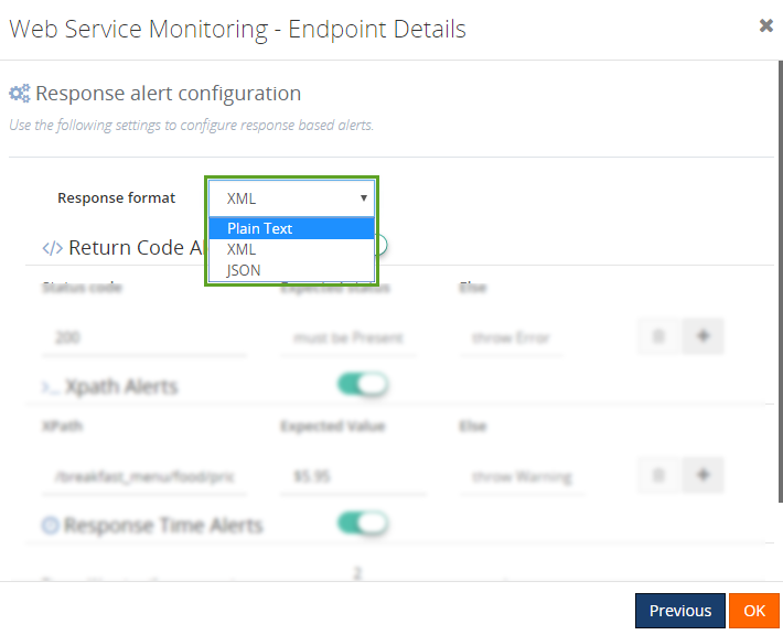 response alert configuration in web endpoints monitoring