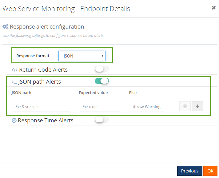 response alert configuration for json xpath alerts