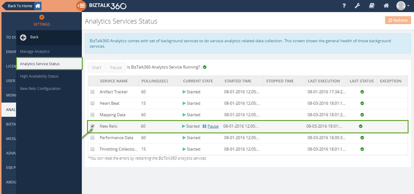 biztalk360 analytics with new relic integration