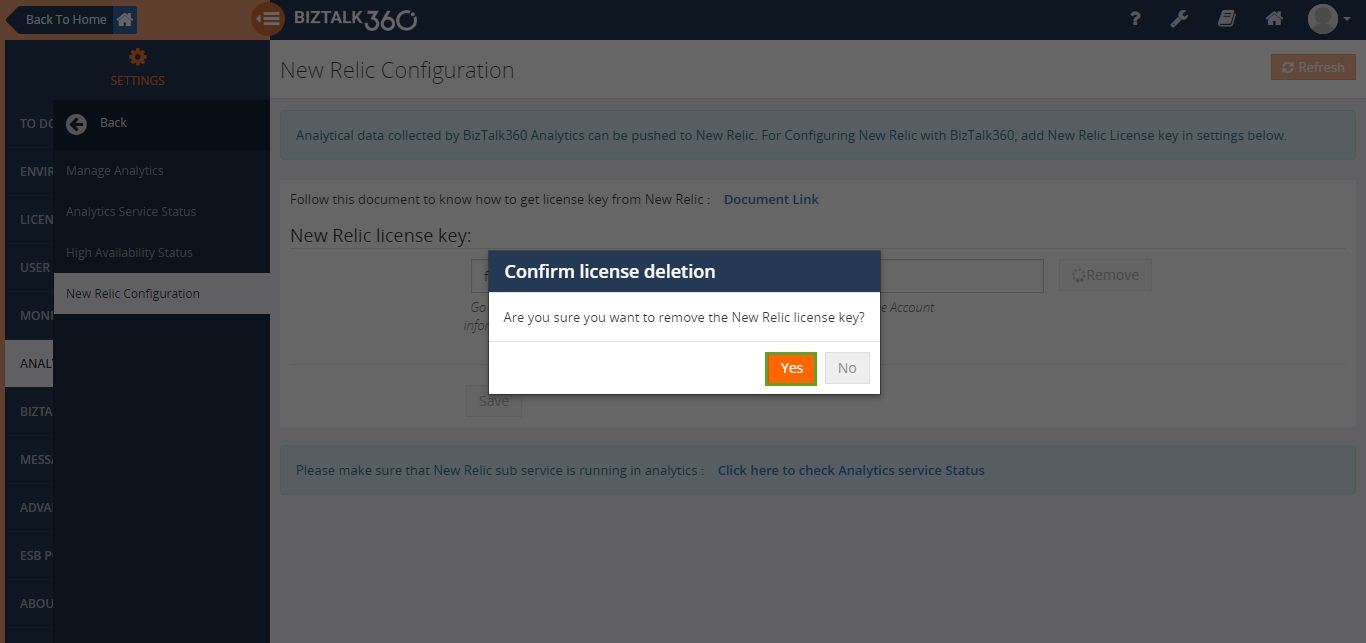 removing new relic license key in biztalk360