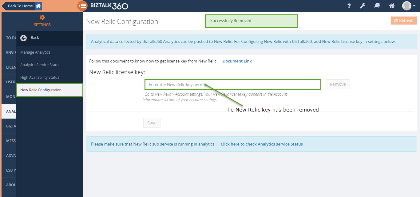 new relic license configuration in biztalk360