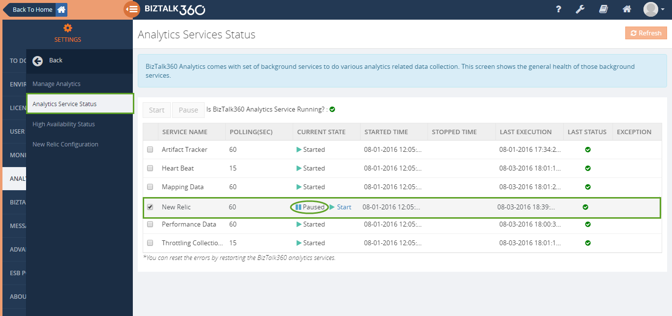pause new relic services in biztalk360