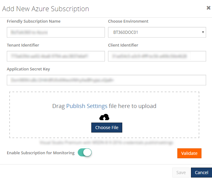 enabling new azure subscription for monitoring