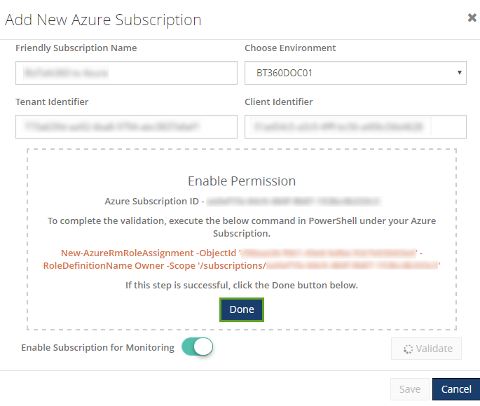 azure subscription id validation for monitoring