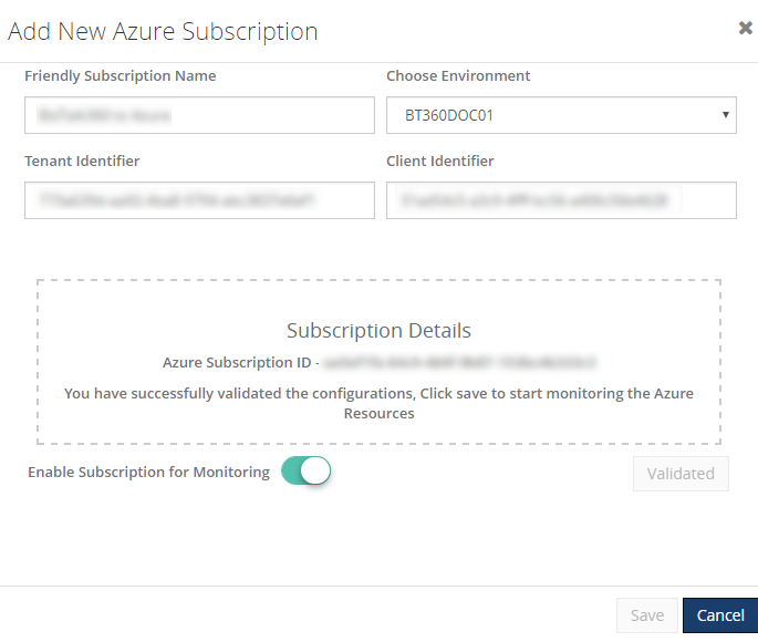successful validation of azure subscription configuration