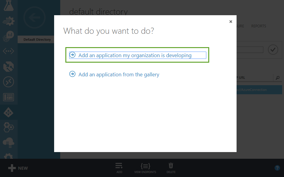 adding an application in azure active directory