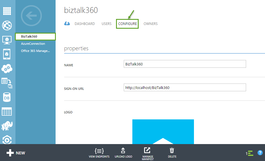 biztalk360 application property details configuration