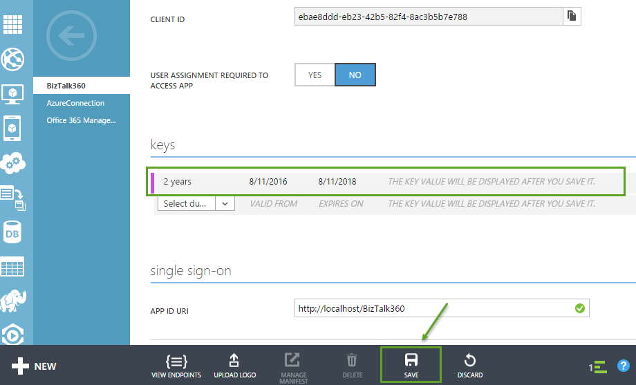 single sign on permission keys for other applications in azure active directory