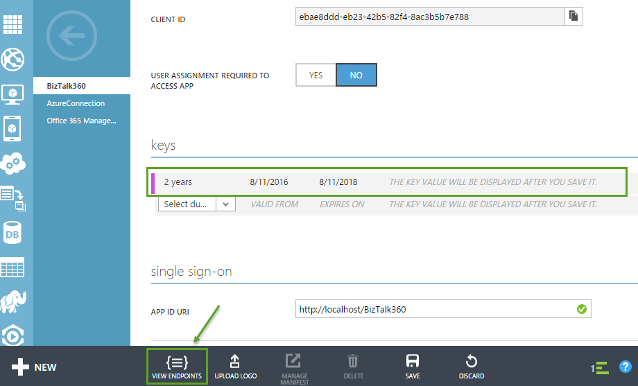 single sign on for biztalk360 application in azure active directory