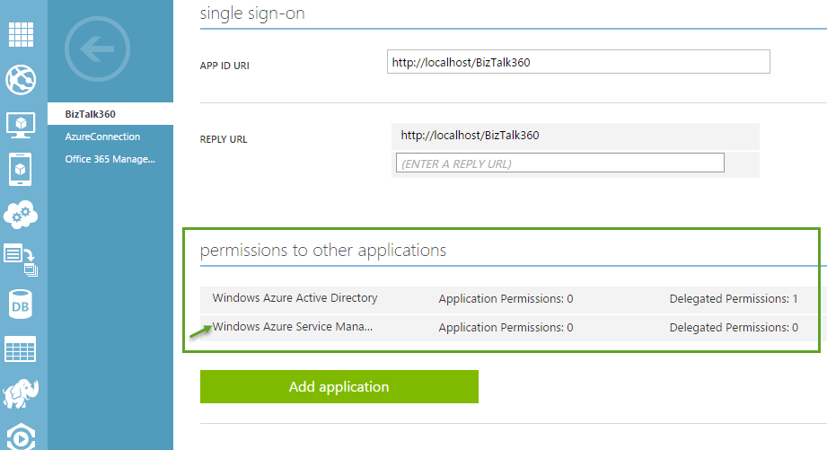 single sign on window for giving permissions to other applications