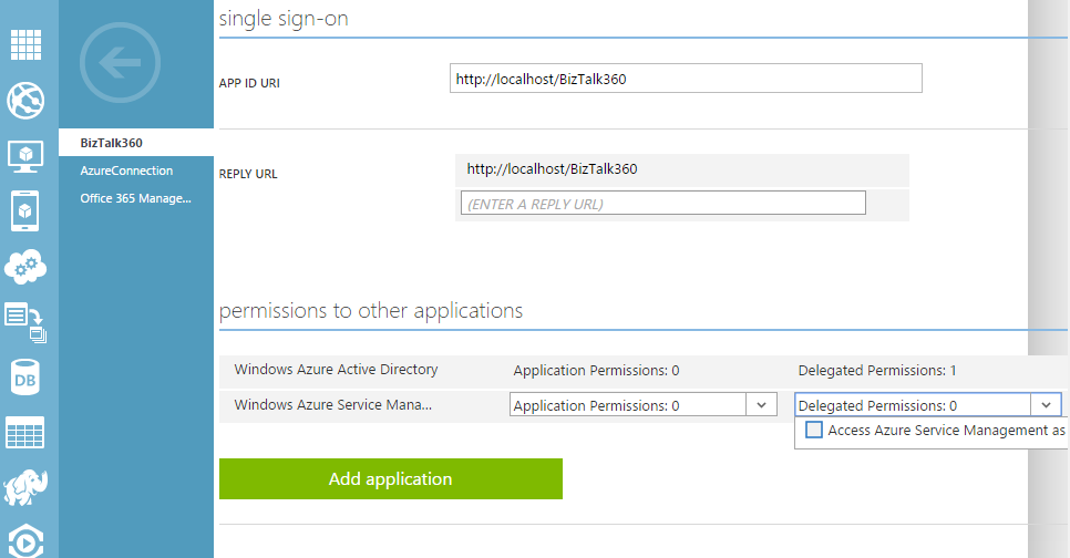 sso window for authorize permissions to other applications