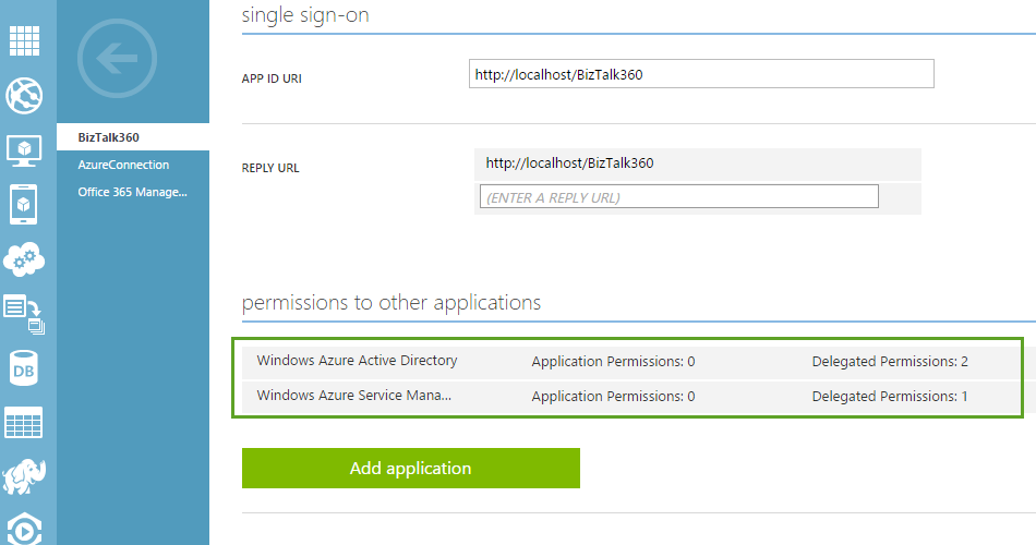 single sign on window for giving permissions to apps in azure active directory