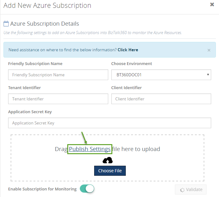 azure subscription settings for biztalk360