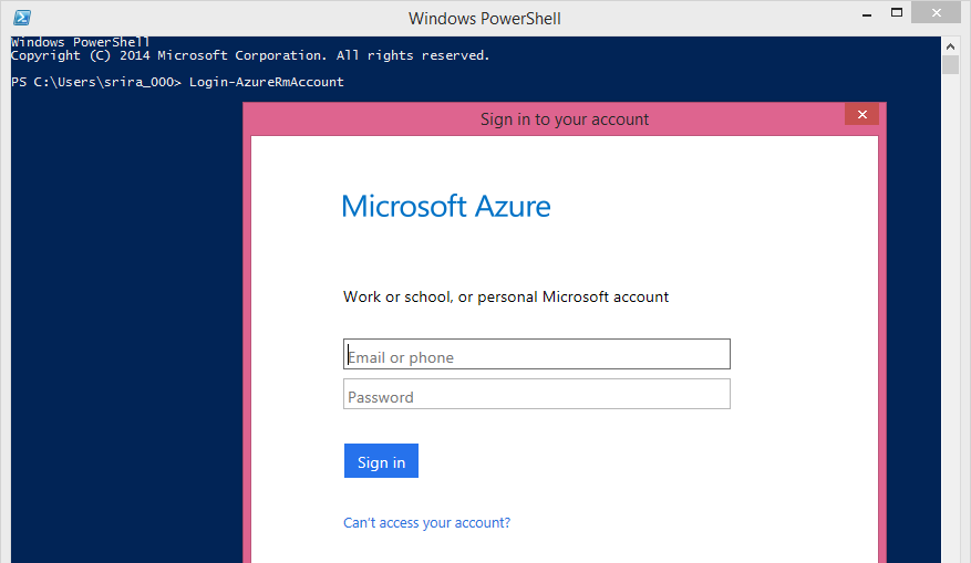 microsoft azure account login