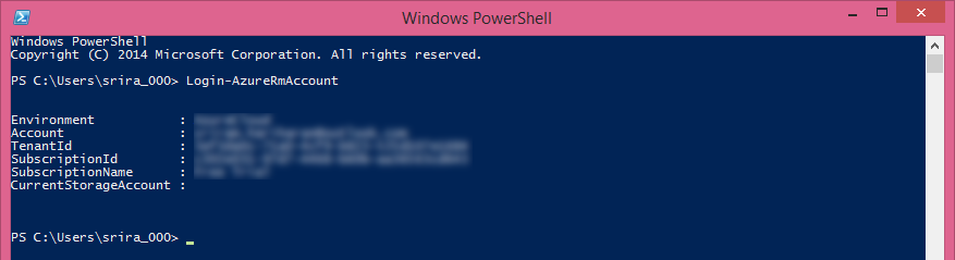 microsoft azure account details in powershell