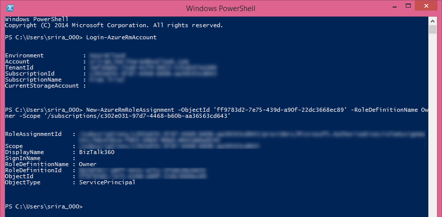 azure subscription for biztalk360 details in powershell