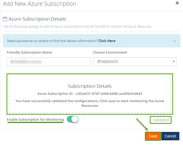 successful validation of azure subscription configurations