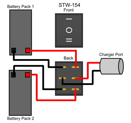 choosing the right power switch for scooter battery packs to recharge two battery packs separately one battery charger our item swt 154 is the one to use here is a wiring diagram showing how to wire it for