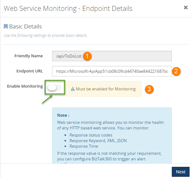 enabling web service endpoints monitoring