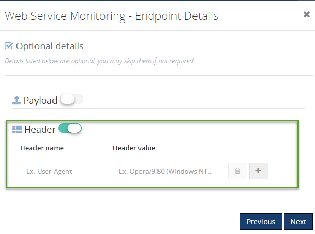 payload header details for web service endpoint monitoring in biztalk360