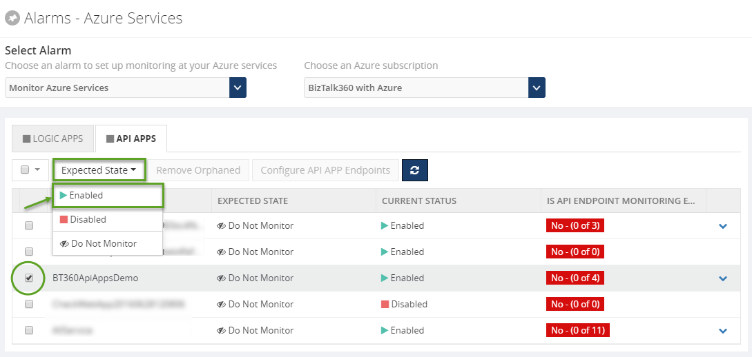 alarms monitoring status for api apps in biztalk360
