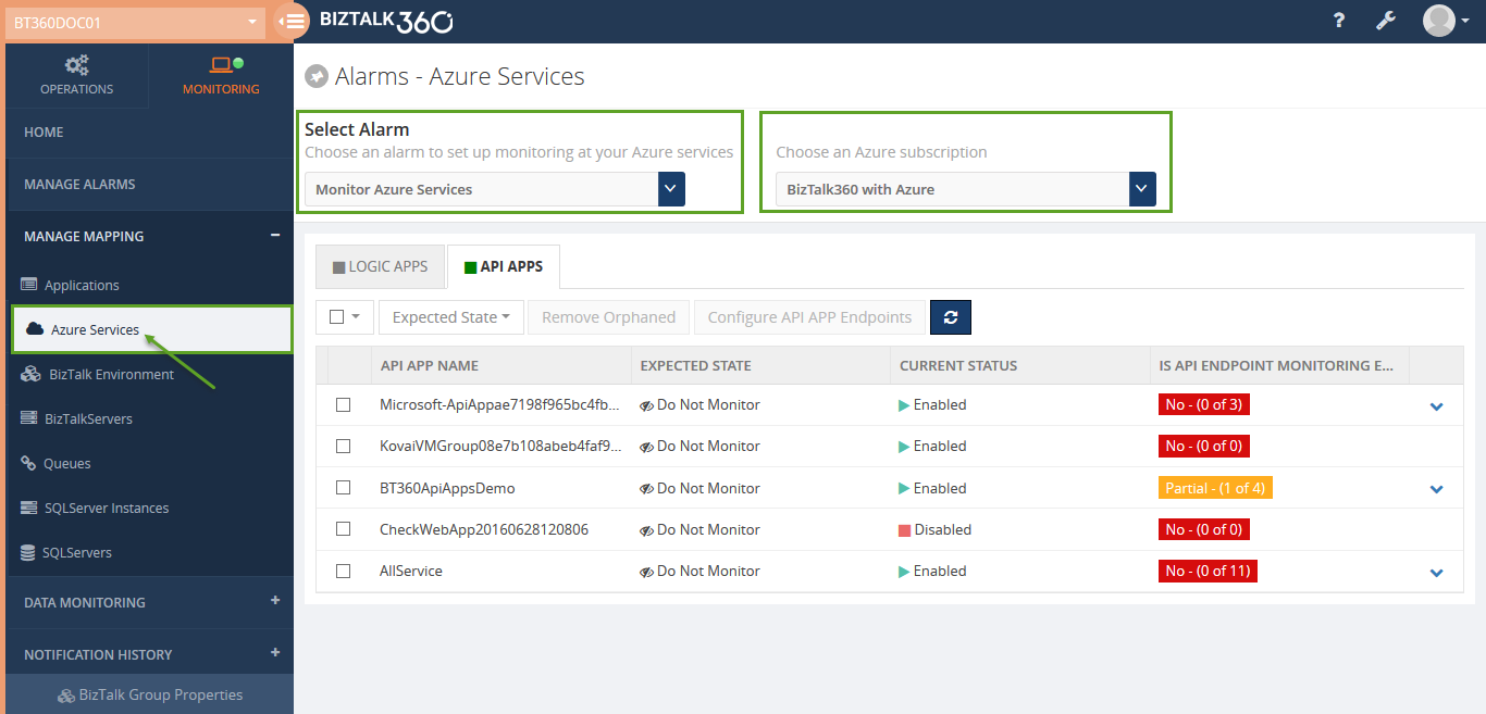 manage alarms for azure services in biztalk360