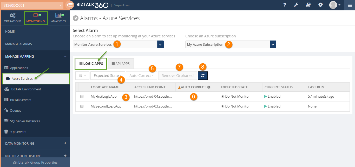 logic apps monitoring screen in biztalk360