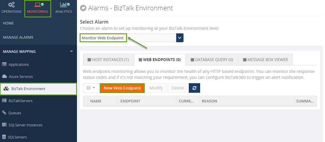 create new web endpoint in biztalk360