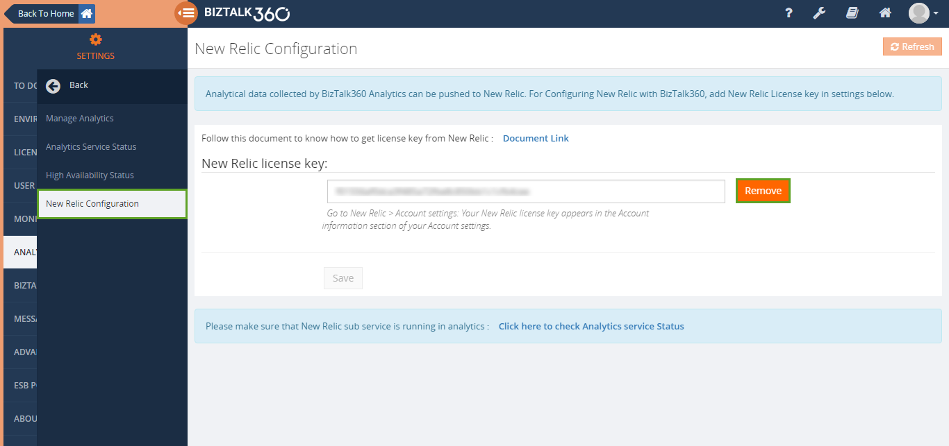 remove new relic key in biztalk360