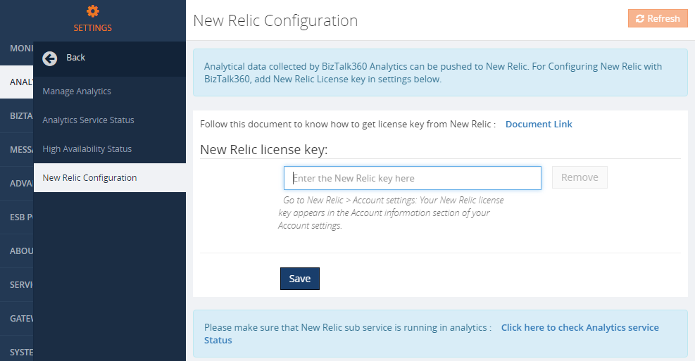 new relic configuration in biztalk360 analytics