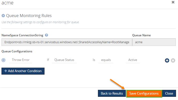 queue configuring conditions for microsoft messaging queues monitoring