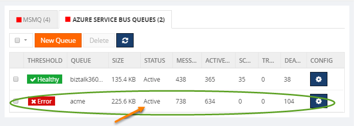 azure service bus queue monitoring error status