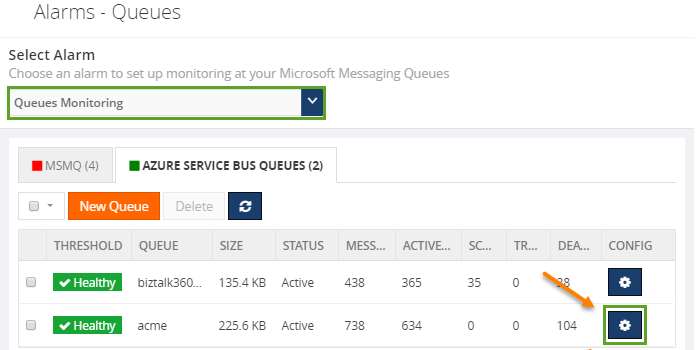 configuring azure service bus queue monitoring alarms