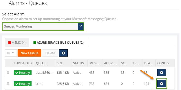 configuring azure service bus queue monitoring alarms