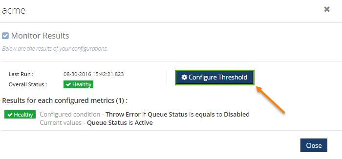 configure threshold violations for queues monitoring