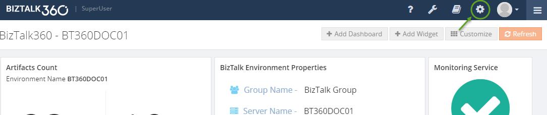 biztalk environment properties screen in biztalk360