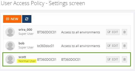 biztalk360 normal user access policy settings
