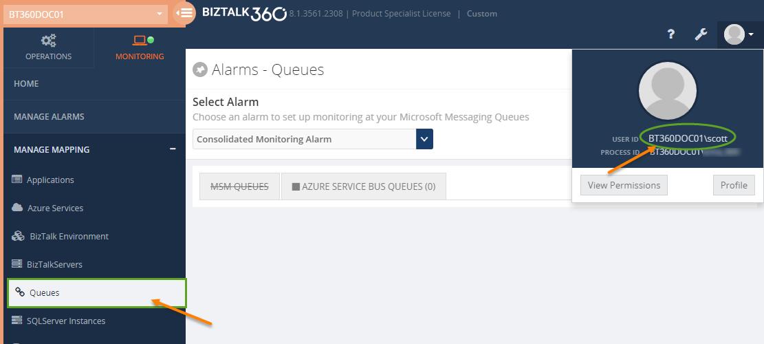 microsoft messaging queue monitoring alarms