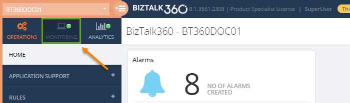 biztalk360 application monitoring navigation panel