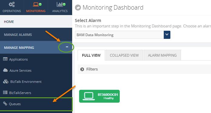 biztalk360 queues monitoring dashboard